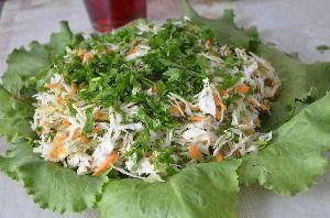 приготовление салата цветок