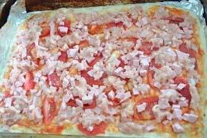 как приготовить пиццу с фаршем и колбасой