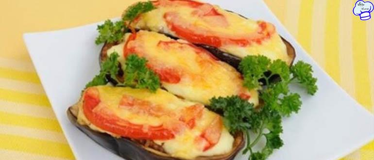 Баклажаны фаршированные с помидорами и сыром