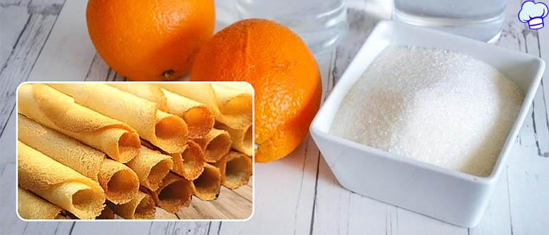 Сахарные трубочки с апельсином