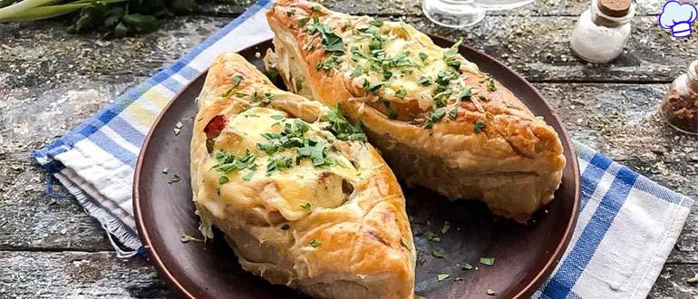 Пирожки лодочки с сытной начинкой