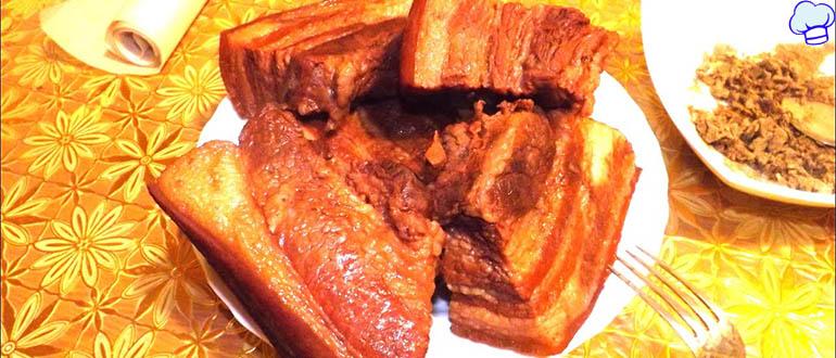 Обалденное сало вареное в луковой шелухе